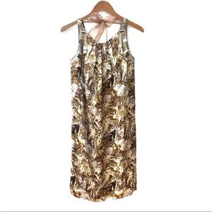 Magaschoni Beaded Silk Feather Print Dress Size 4